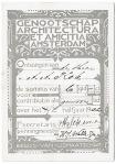 Kwitantie Genootschap Architectura et Amicitia Amsterdam ontwerp houtsnede van K.P.C. de Bazel 1897