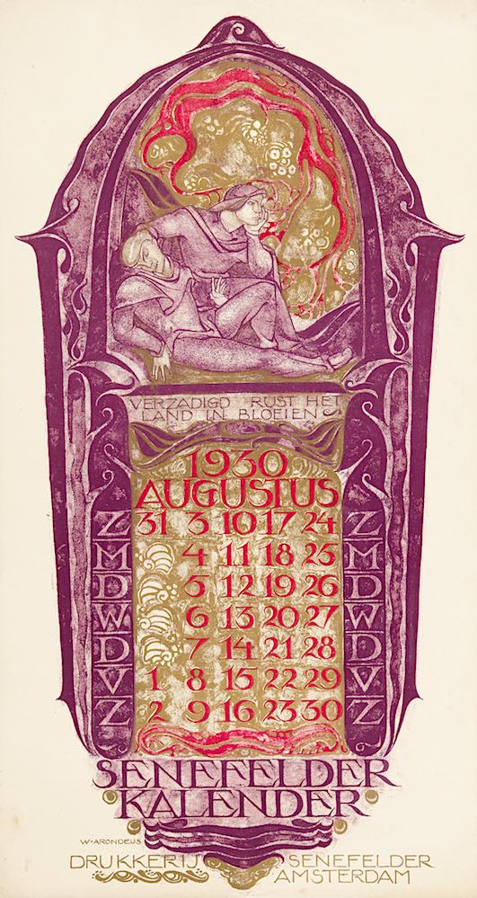 Drukkerij Senefelder kalender kalenderblad augustus 1930 ontwerper Willem Arondeus