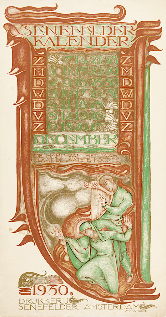 Drukkerij Senefelder kalender kalenderblad december 1930 ontwerper Willem Arondeus