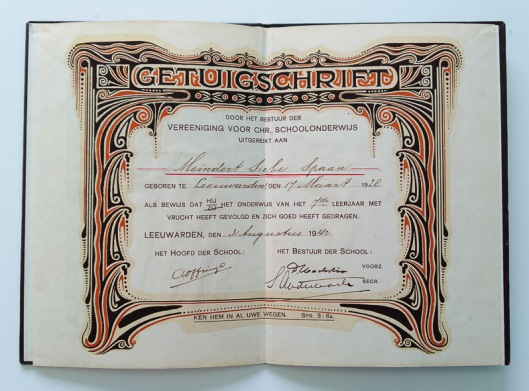 Art Nouveau Getuigschrift Koningin Emmaschool Leeuwarden binnenzijde