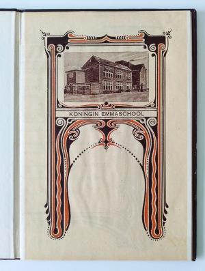 art nouveau titelpagina getuigschrift Koningin Emmaschool Leeuwarden