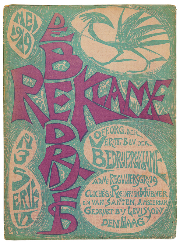 De Bedrijfsreklame, mei 1919, omslagontwerp: Leo Visser, Amsterdamse School