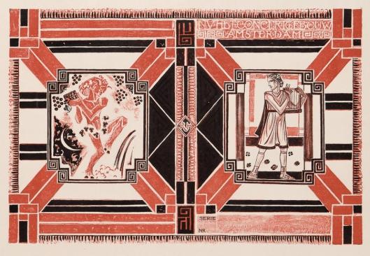 Proefdruk omslag programmaboekje Concertgebouw Amsterdam, ontwerp: Richard Roland Holst (1921)