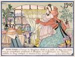 art nouveau wenskaart voor het jaar 1900, ontworpen door Henri Thiriet voor modejournalist Octave Uzanne