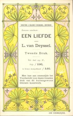 Prospectus Een Liefde door Lodewijk van Deyssel Scheltema & Holkema's Boekhandel, ontwerp: Theo Nieuwenhuis (1899)