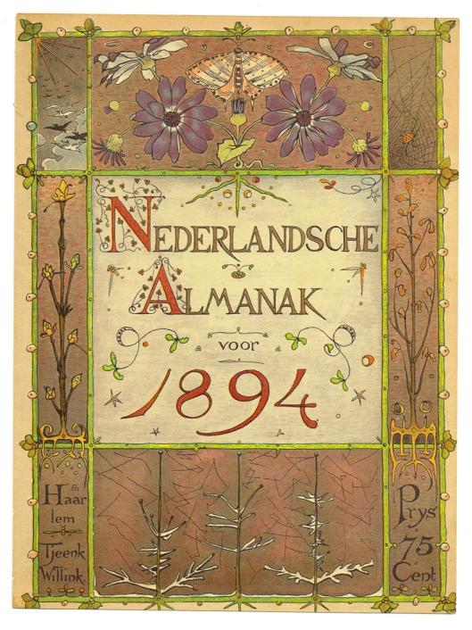 Art Nouveau omslag voor De Nederlandsche Almanak 1894, ontwerper: Theo Nieuwenhuis