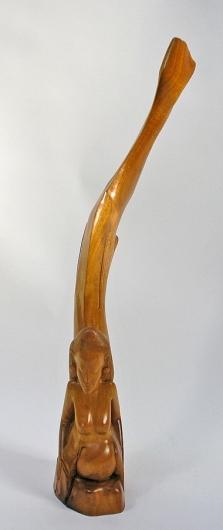 I Made Runda, Bali: houten art deco beeld van een zeemeermin, ca. 1950-1970